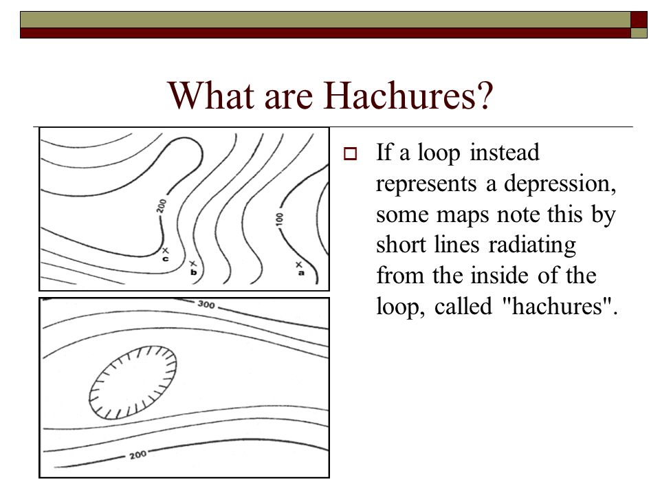What are Hachures? If a loop instead represents a depression, some maps note this by short lines radiating from the inside of the loop, called