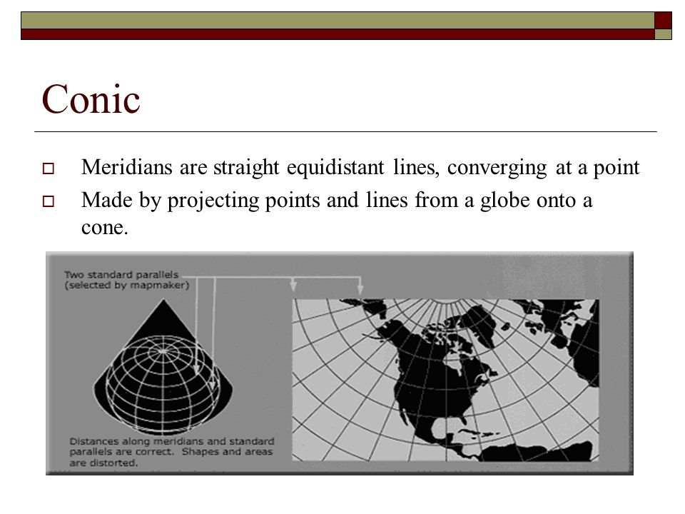 Conic Meridians are straight equidistant lines, converging at a point Made by projecting points and lines from a globe onto a cone.