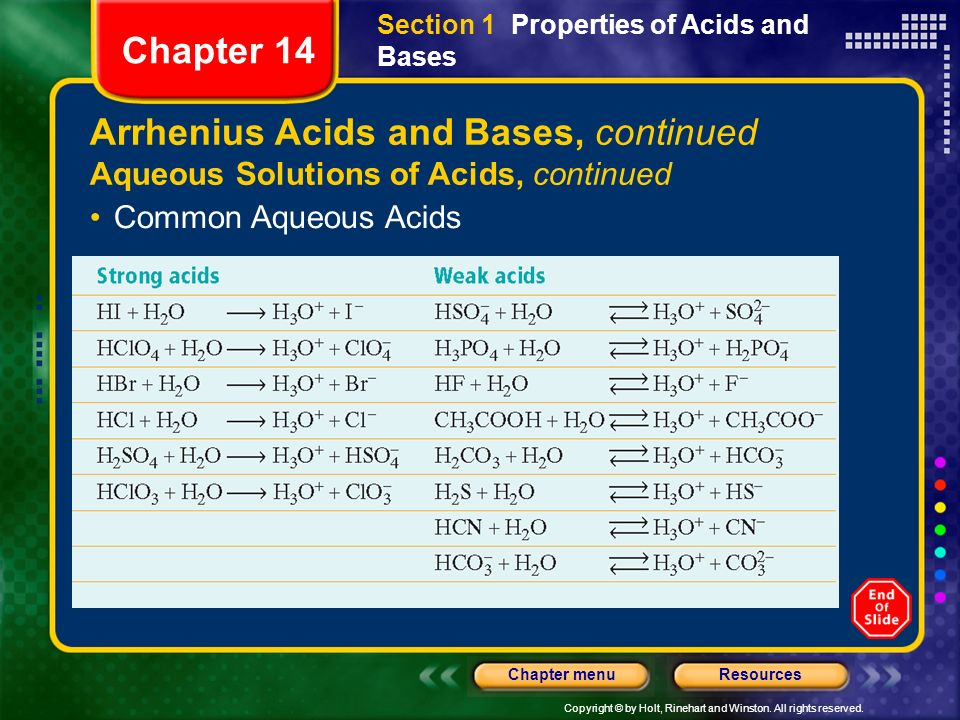 Copyright © by Holt, Rinehart and Winston. All rights reserved. ResourcesChapter menu Arrhenius Acids and Bases, continued Aqueous Solutions of Acids,