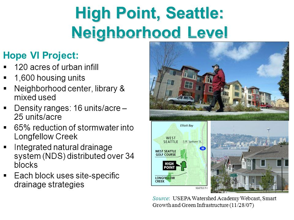 High Point, Seattle: Neighborhood Level Hope VI Project: 120 acres of urban infill 1,600 housing units Neighborhood center, library & mixed used Densi