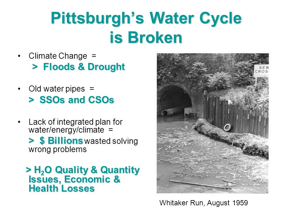 Pittsburghs Water Cycle is Broken Climate Change = > Floods & Drought Old water pipes = > SSOs and CSOs Lack of integrated plan for water/energy/clima