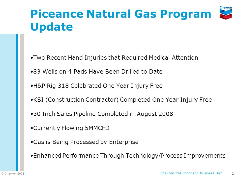 © Chevron 2005 Chevron Mid-Continent Business Unit 2 Piceance Natural Gas Program Update Two Recent Hand Injuries that Required Medical Attention 83 W