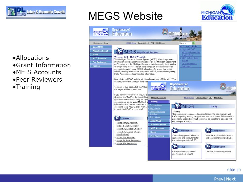 PrevNext | Slide 13 MEGS Website Allocations Grant Information MEIS Accounts Peer Reviewers Training