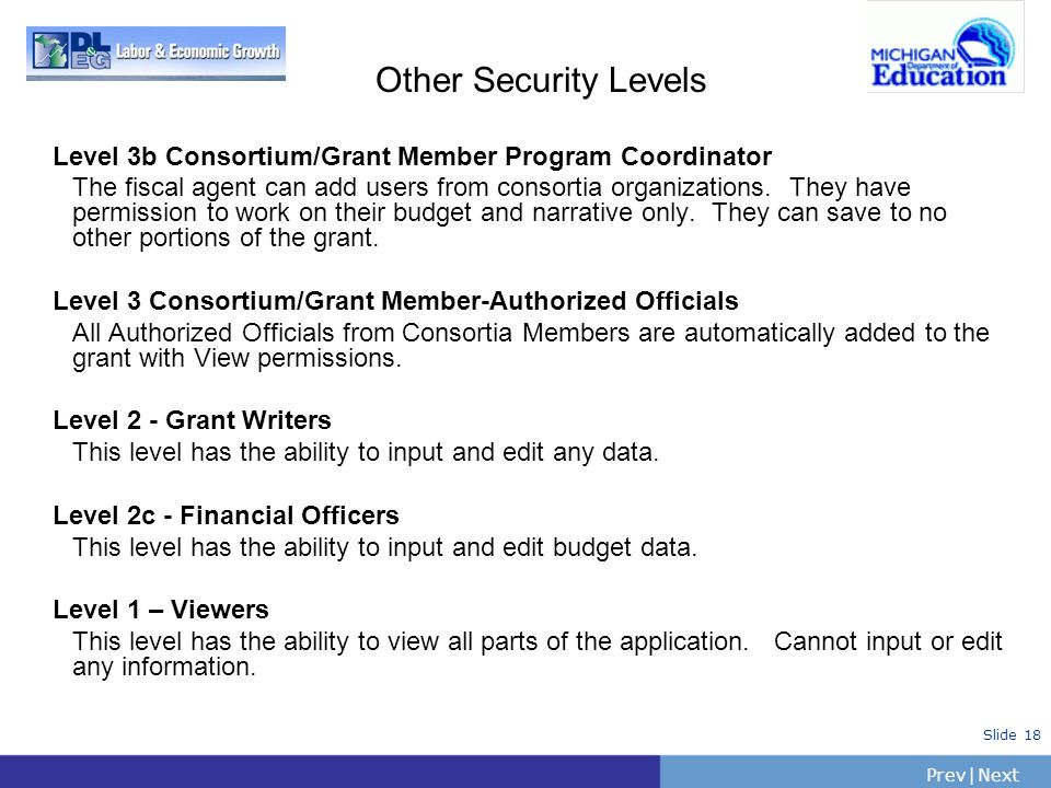 PrevNext | Slide 18 Other Security Levels Level 3b Consortium/Grant Member Program Coordinator The fiscal agent can add users from consortia organizat