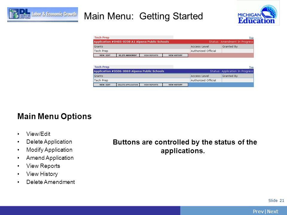 PrevNext | Slide 21 Main Menu: Getting Started Main Menu Options View/Edit Delete Application Modify Application Amend Application View Reports View H