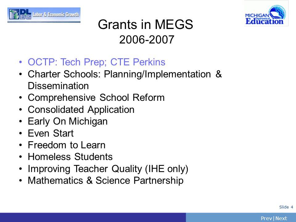 PrevNext | Slide 4 Grants in MEGS 2006-2007 OCTP: Tech Prep; CTE Perkins Charter Schools: Planning/Implementation & Dissemination Comprehensive School