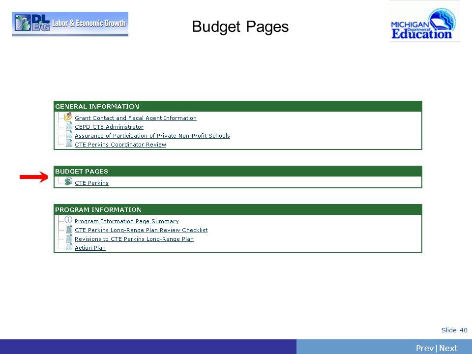 PrevNext | Slide 40 Budget Pages