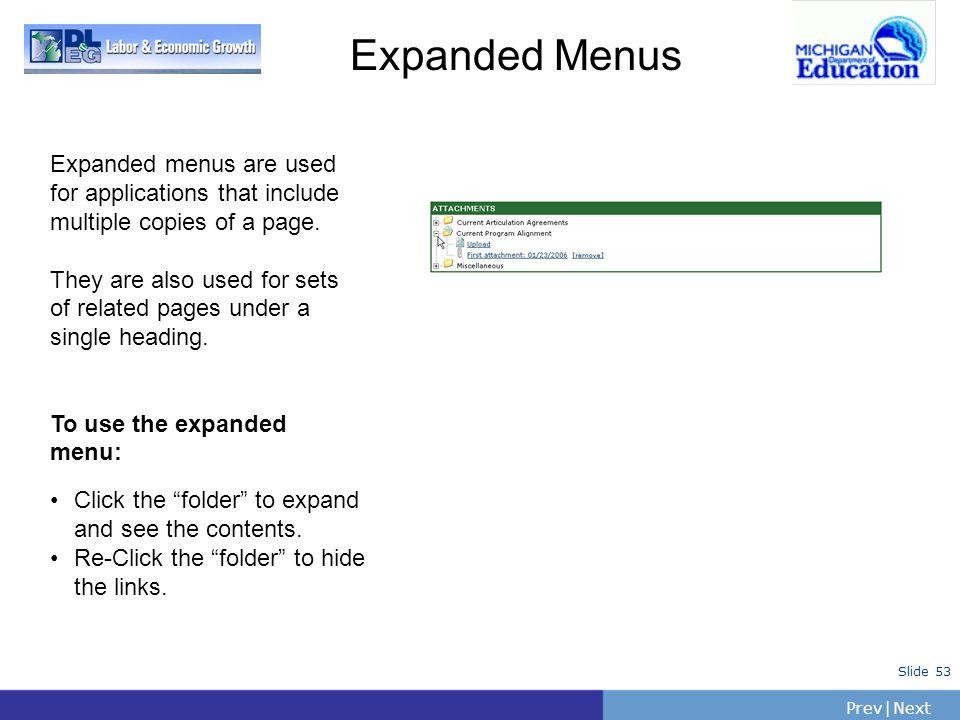 PrevNext | Slide 53 Expanded Menus Click the folder to expand and see the contents. Re-Click the folder to hide the links. Expanded menus are used for
