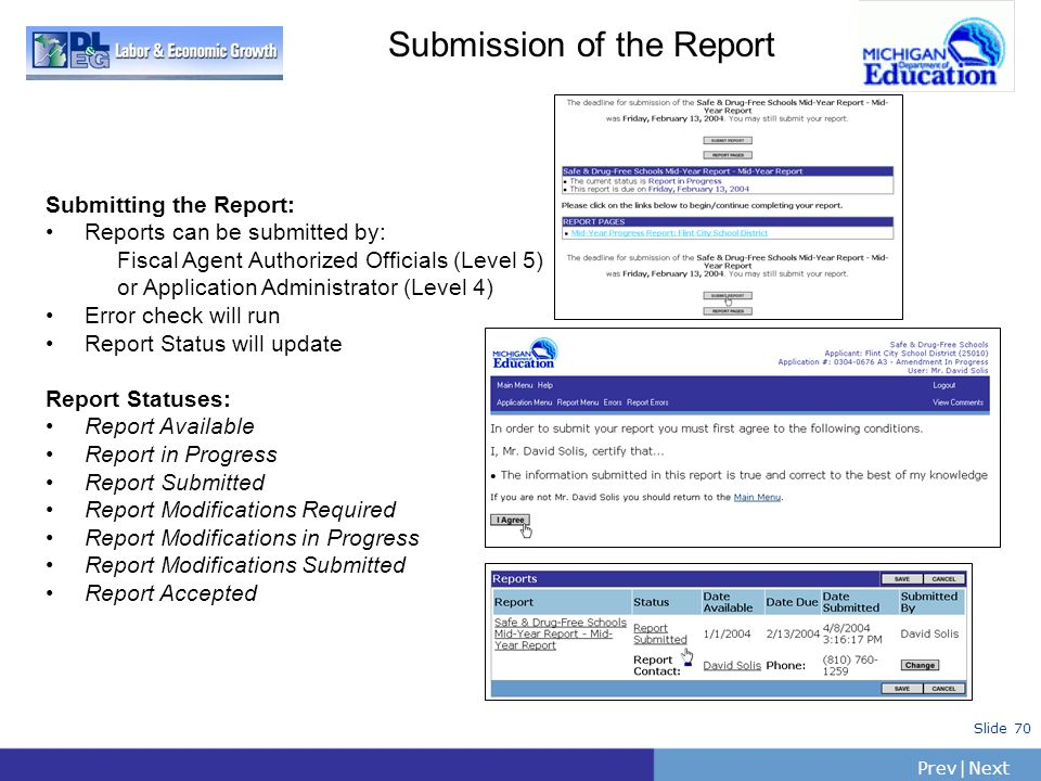 PrevNext | Slide 70 Submission of the Report Submitting the Report: Reports can be submitted by: Fiscal Agent Authorized Officials (Level 5) or Applic