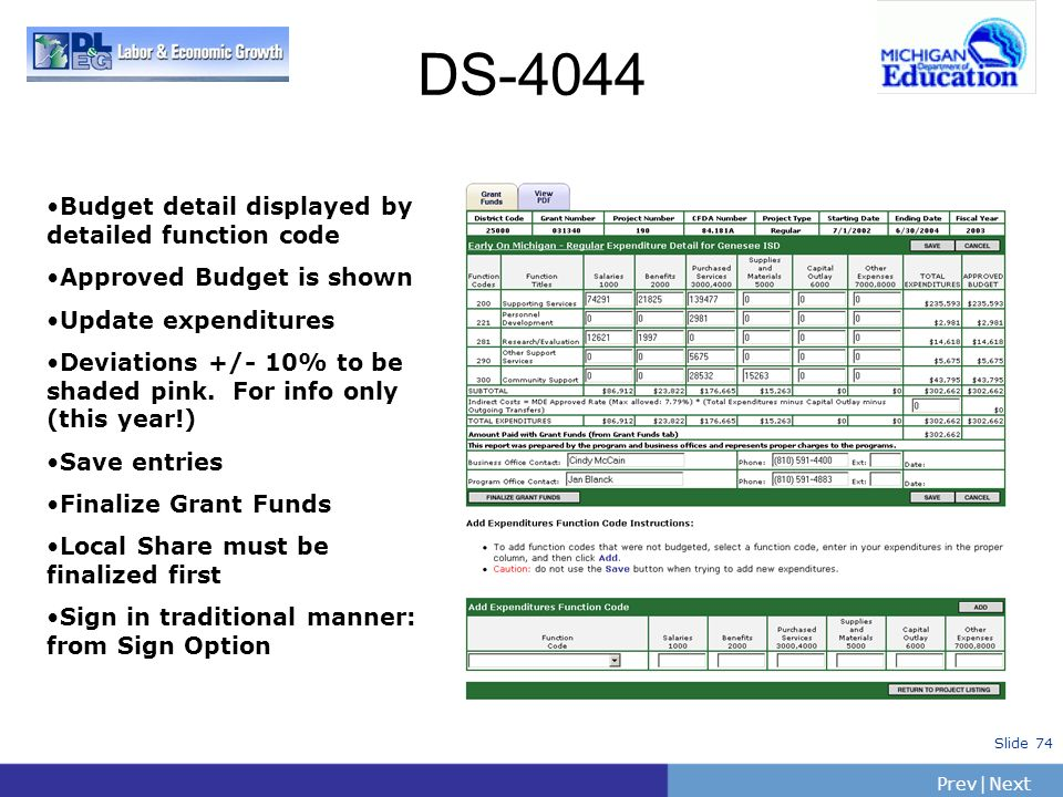 PrevNext | Slide 74 DS-4044 Budget detail displayed by detailed function code Approved Budget is shown Update expenditures Deviations +/- 10% to be sh