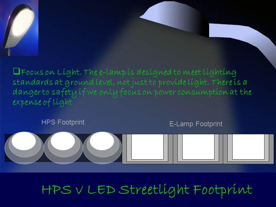 HPS v LED Streetlight Footprint HPS Footprint E-Lamp Footprint Focus on Light. The e-lamp is designed to meet lighting standards at ground level, not