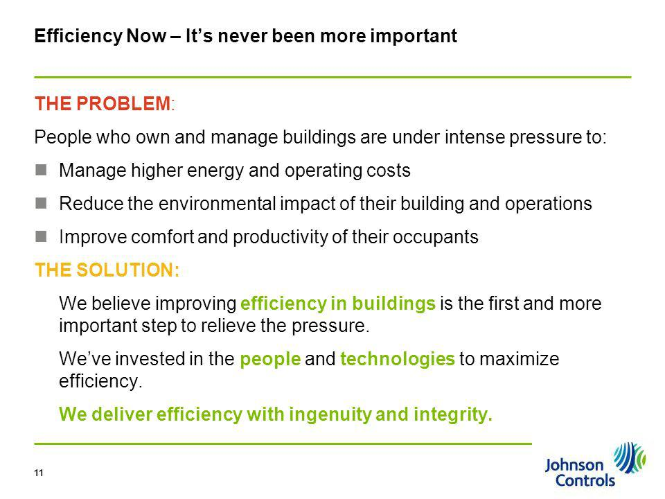 Pg 11 11 Efficiency Now – Its never been more important THE PROBLEM: People who own and manage buildings are under intense pressure to: Manage higher