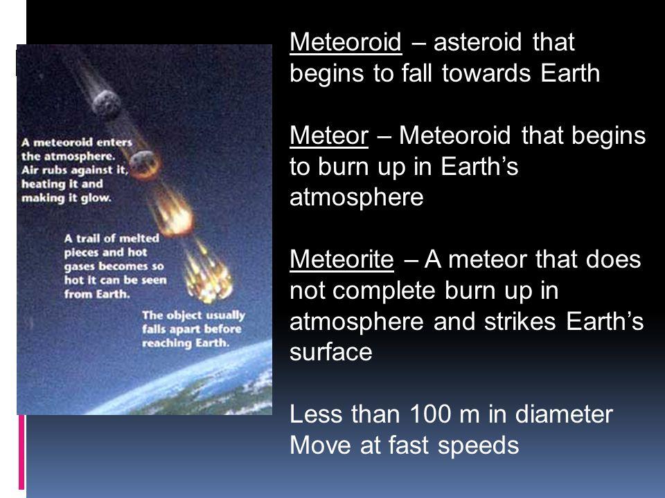 Meteoroid – asteroid that begins to fall towards Earth Meteor – Meteoroid that begins to burn up in Earths atmosphere Meteorite – A meteor that does n