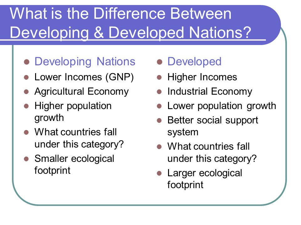 What is the Difference Between Developing & Developed Nations? Developing Nations Lower Incomes (GNP) Agricultural Economy Higher population growth Wh