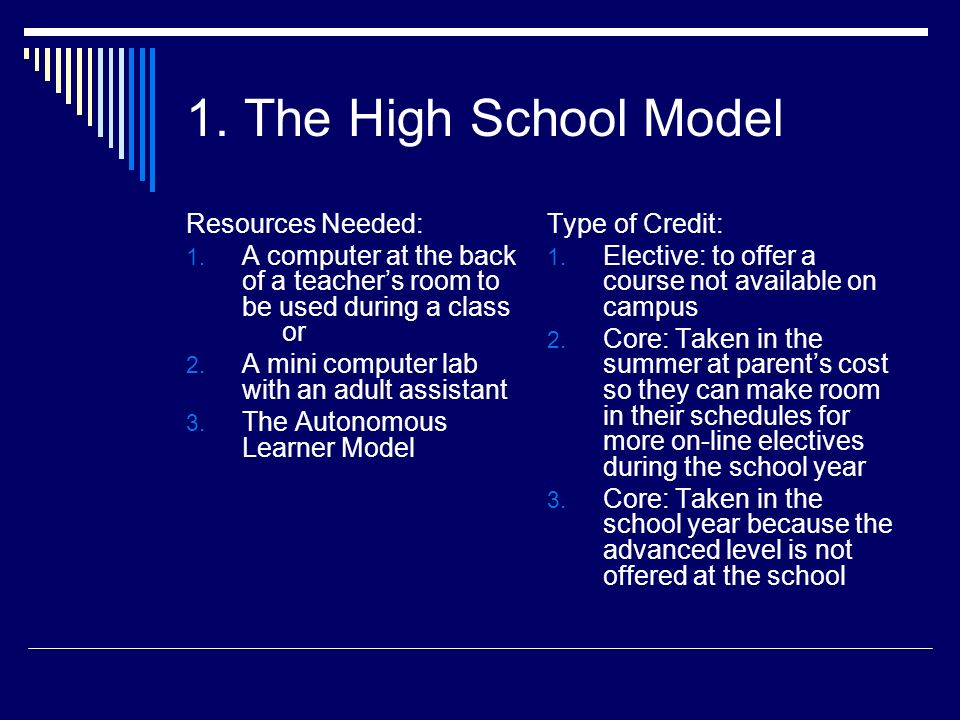 1. The High School Model Resources Needed: 1. A computer at the back of a teachers room to be used during a class or 2. A mini computer lab with an ad