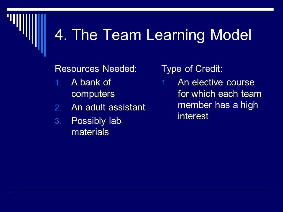 Resources Needed: 1. A bank of computers 2. An adult assistant 3. Possibly lab materials Type of Credit: 1. An elective course for which each team mem