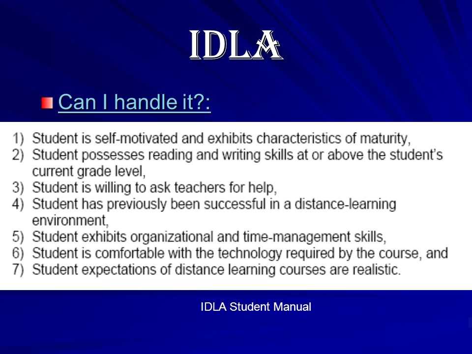 IDLA Can I handle it : Can I handle it : IDLA Student Manual