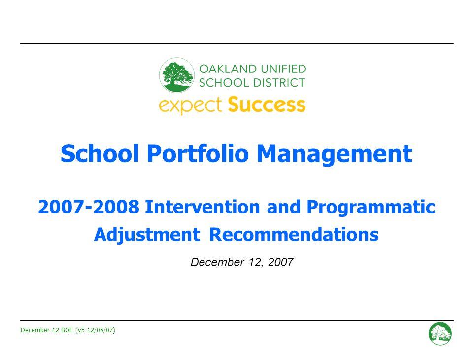 December 12 BOE (v5 12/06/07) - 0 - School Portfolio Management 2007-2008 Intervention and Programmatic Adjustment Recommendations December 12, 2007