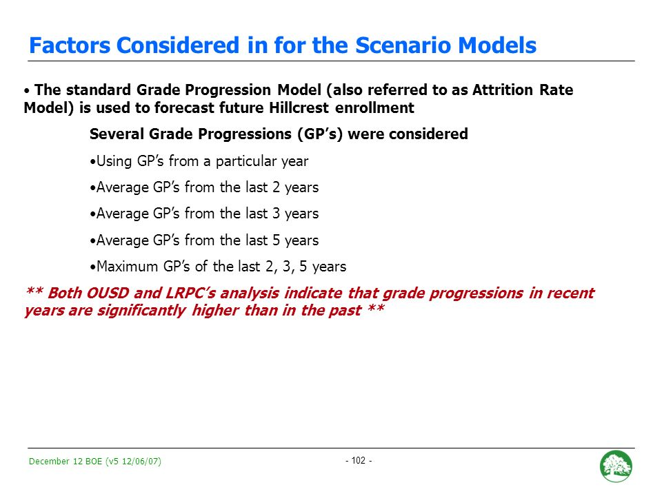 December 12 BOE (v5 12/06/07) - 101 - Defining and Measuring Grade Progressions A grade progression measures the change in the number of students from one year to the next This years Kindergartners become next years first graders and the following years second graders and so on.