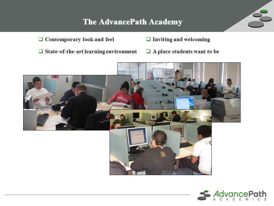 AdvancePath & District Responsibilities AdvancePath Provides Fully provisioned Academy with a technology rich learning environment A positive social environment where achievement is immediately rewarded District staff trained & managed by AdvancePath Student & community outreach Auditing & reporting to district for ADA submissions to state Academy oversight & management Job & Post-Secondary Preparation District Provides Facilities (~3,000 sq/ft) Coordination on Academy staff hiring and payroll administration Project facilitator to work with AdvancePath implementation team Support from business office to comply with state reporting and payment