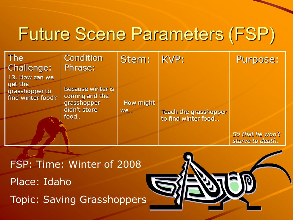 Future Scene Parameters (FSP) The Challenge: 13. How can we get the grasshopper to find winter food? Condition Phrase: Because winter is coming and th