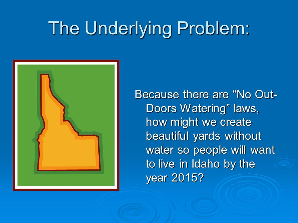 The Underlying Problem: Because there are No Out- Doors Watering laws, how might we create beautiful yards without water so people will want to live i