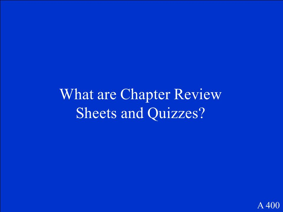 These questions and answers can help a student prepare for an exam. A 400