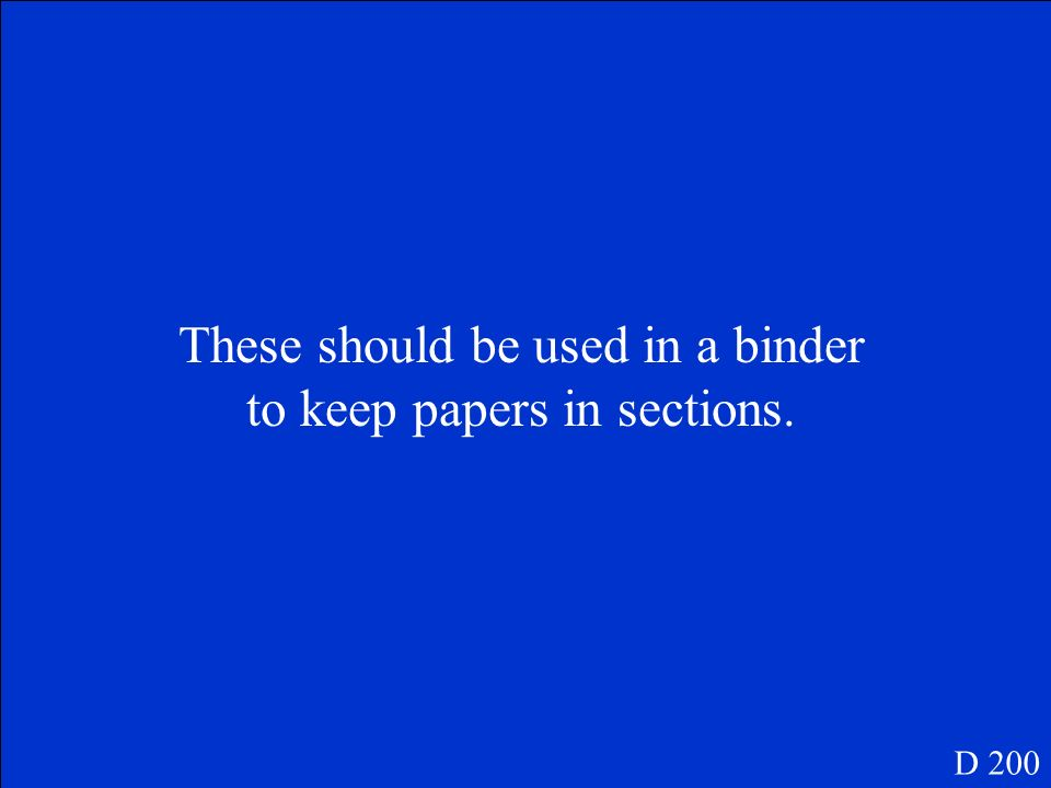 What is a single subject binder? D 100