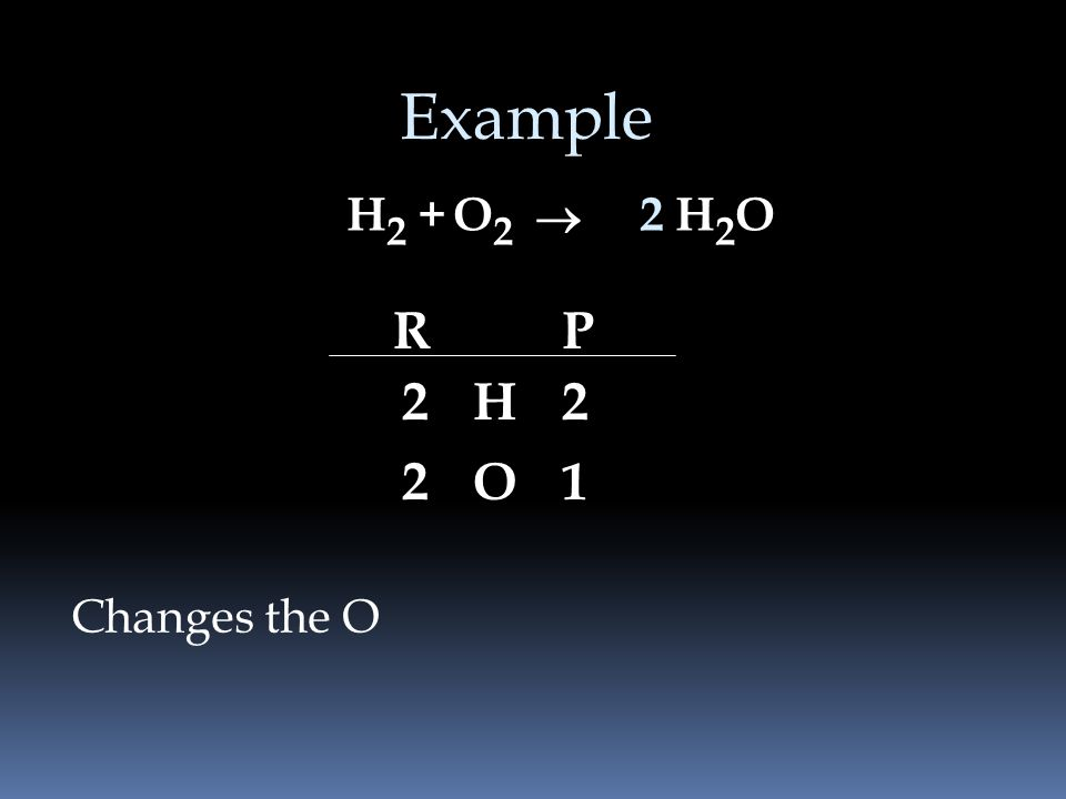 Example H 2 +H2OH2OO2O2 Need twice as much O in the product RP H O 2 2 2 1