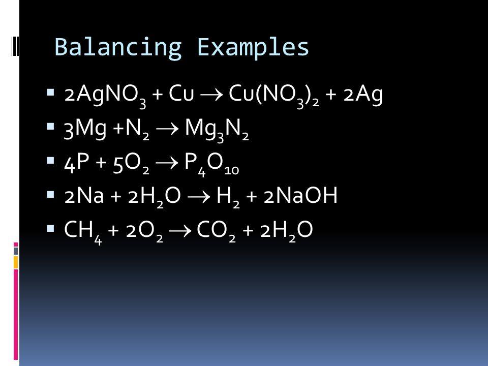 Balancing Examples _ AgNO 3 + _Cu _Cu(NO 3 ) 2 + _Ag _Mg + _N 2 _Mg 3 N 2 _P + _O 2 _P 4 O 10 _Na + _H 2 O _H 2 + _NaOH _CH 4 + _O 2 _CO 2 + _H 2 O