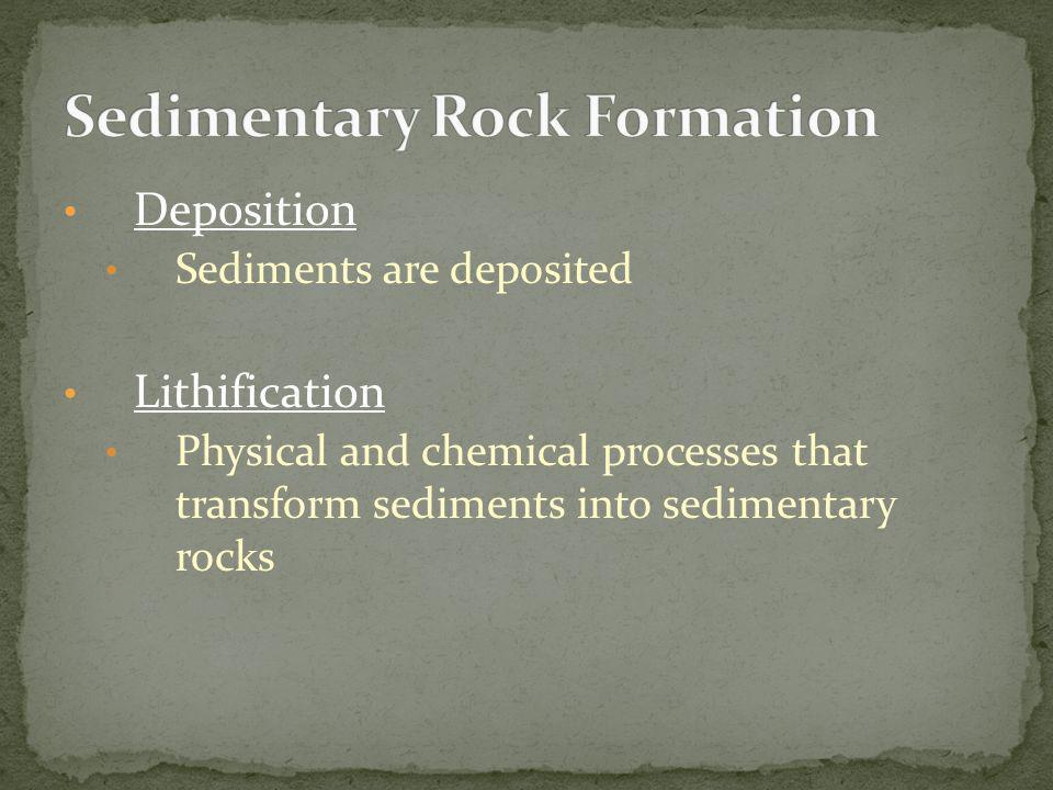 Deposition Sediments are deposited Lithification Physical and chemical processes that transform sediments into sedimentary rocks