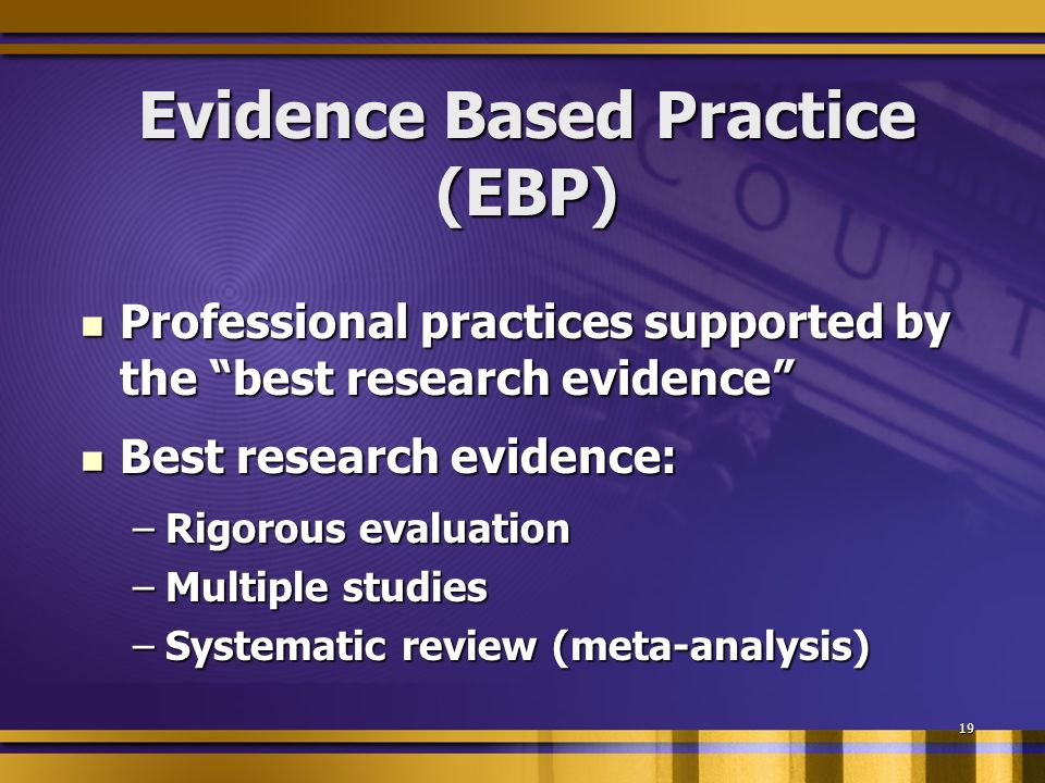 19 Evidence Based Practice (EBP) Professional practices supported by the best research evidence Professional practices supported by the best research evidence Best research evidence: Best research evidence: –Rigorous evaluation –Multiple studies –Systematic review (meta-analysis)