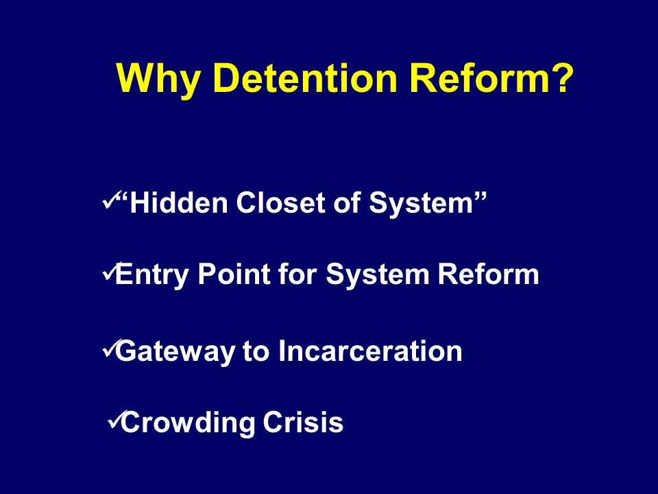 Why Detention Reform? Entry Point for System Reform Gateway to Incarceration Crowding Crisis Hidden Closet of System