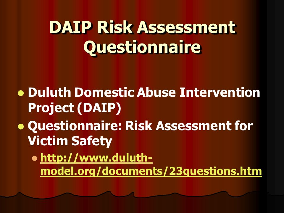 DAIP Risk Assessment Questionnaire Duluth Domestic Abuse Intervention Project (DAIP) Questionnaire: Risk Assessment for Victim Safety http://www.dulut