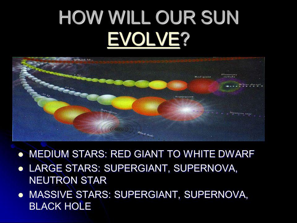 HOW WILL OUR SUN EVOLVE? EVOLVE MEDIUM STARS: RED GIANT TO WHITE DWARF MEDIUM STARS: RED GIANT TO WHITE DWARF LARGE STARS: SUPERGIANT, SUPERNOVA, NEUT