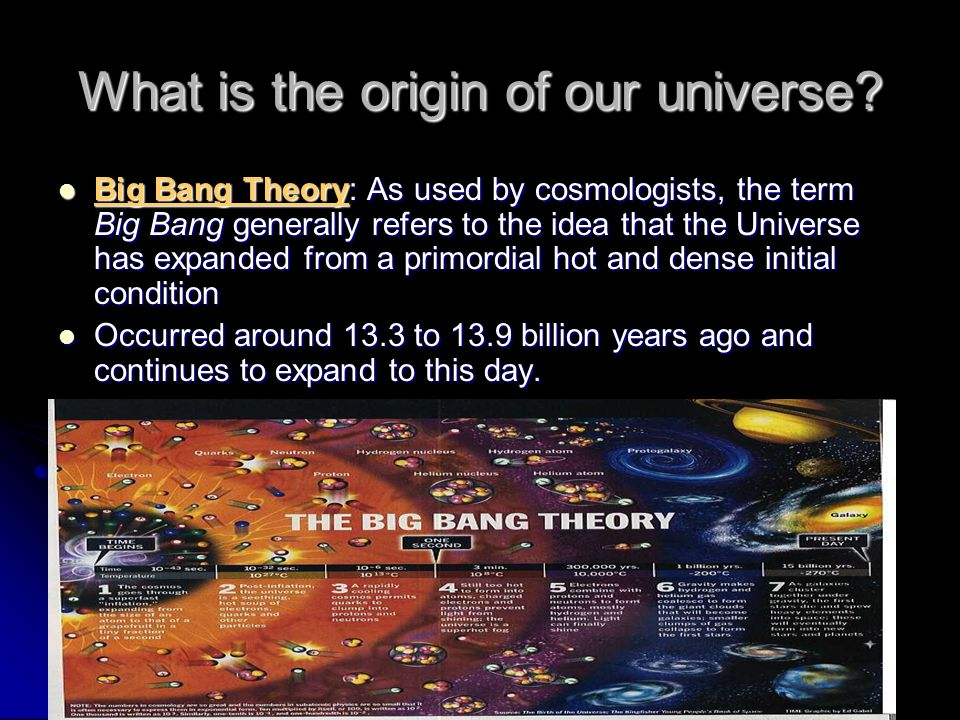 What is the origin of our universe? Big Bang Theory: As used by cosmologists, the term Big Bang generally refers to the idea that the Universe has exp