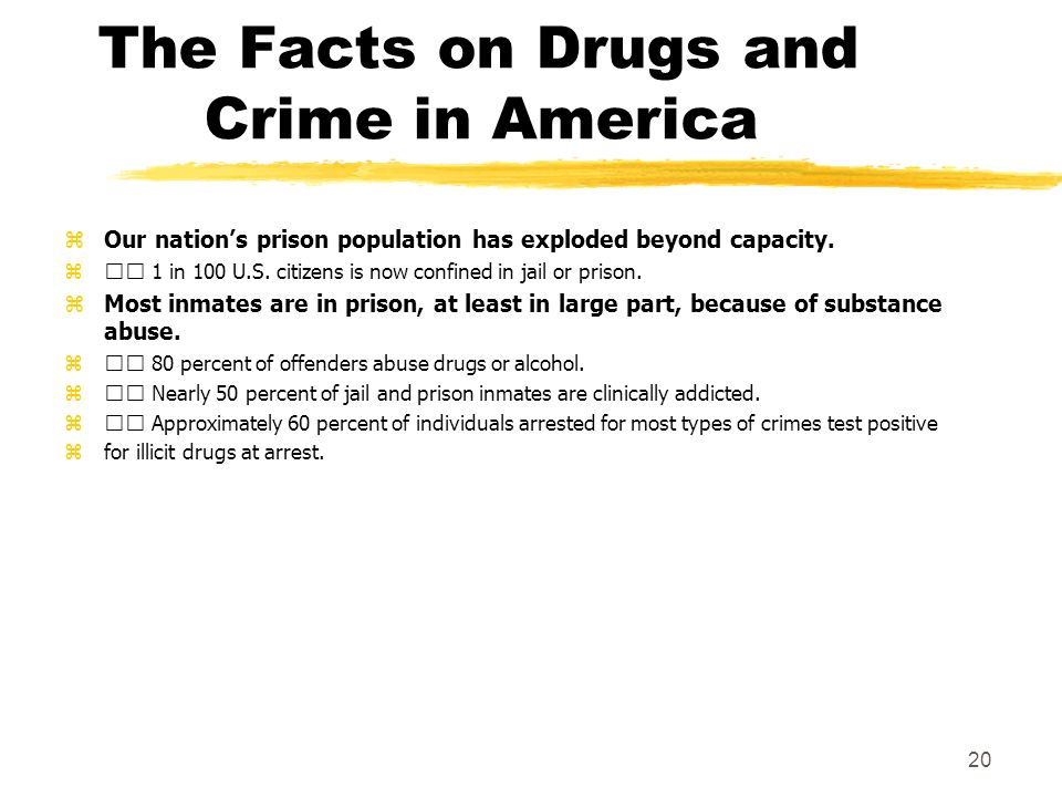 The Facts on Drugs and Crime in America zOur nations prison population has exploded beyond capacity. z 1 in 100 U.S. citizens is now confined in jail