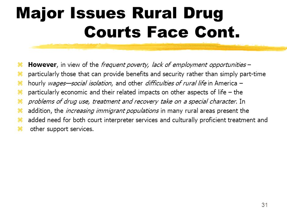 Major Issues Rural Drug Courts Face Cont. 31 zHowever, in view of the frequent poverty, lack of employment opportunities – zparticularly those that ca