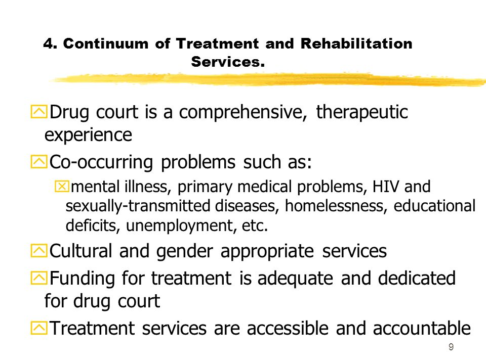 9 4. Continuum of Treatment and Rehabilitation Services. yDrug court is a comprehensive, therapeutic experience yCo-occurring problems such as: xmenta
