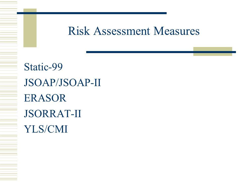 Risk Assessment Measures Static-99 JSOAP/JSOAP-II ERASOR JSORRAT-II YLS/CMI
