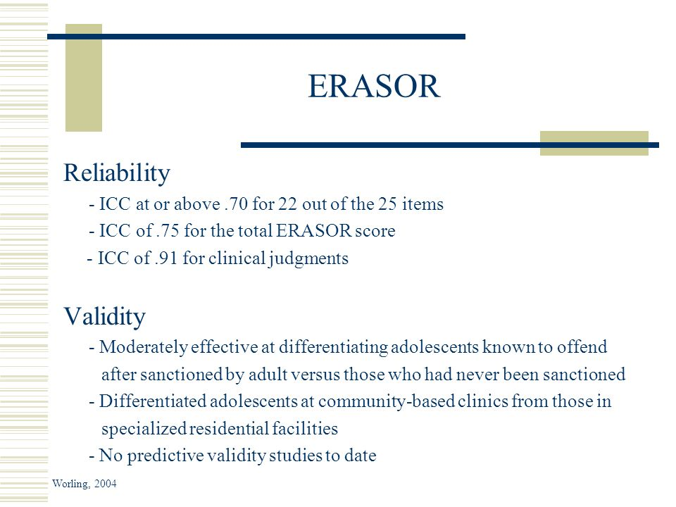 ERASOR Reliability - ICC at or above.70 for 22 out of the 25 items - ICC of.75 for the total ERASOR score - ICC of.91 for clinical judgments Validity - Moderately effective at differentiating adolescents known to offend after sanctioned by adult versus those who had never been sanctioned - Differentiated adolescents at community-based clinics from those in specialized residential facilities - No predictive validity studies to date Worling, 2004