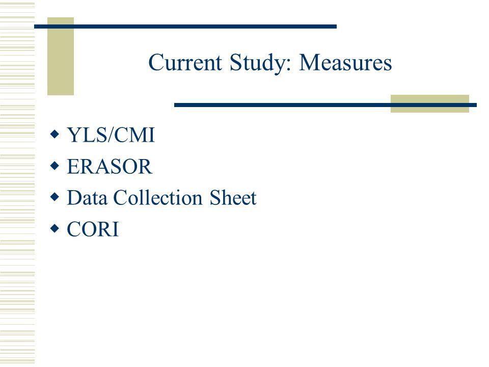 Current Study: Measures YLS/CMI ERASOR Data Collection Sheet CORI