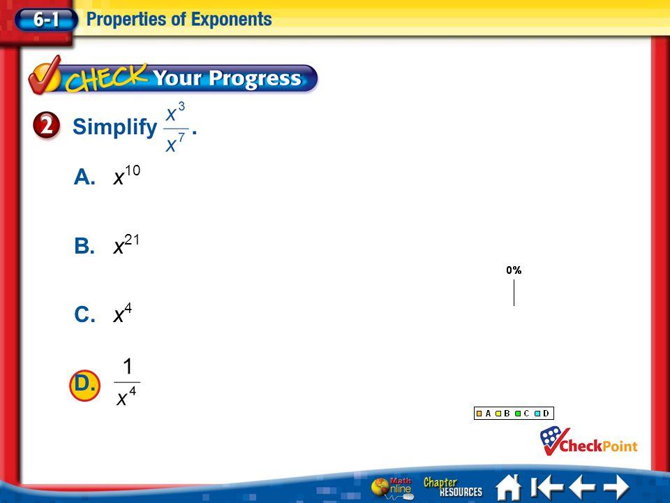 Lesson 1 CYP2 1.A 2.B 3.C 4.D A.x 10 B.x 21 C.x 4 D.