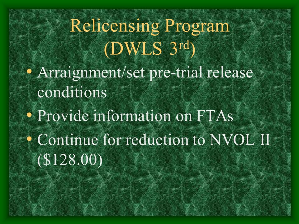 Relicensing Program (DWLS 3 rd ) Arraignment/set pre-trial release conditions Provide information on FTAs Continue for reduction to NVOL II ($128.00)