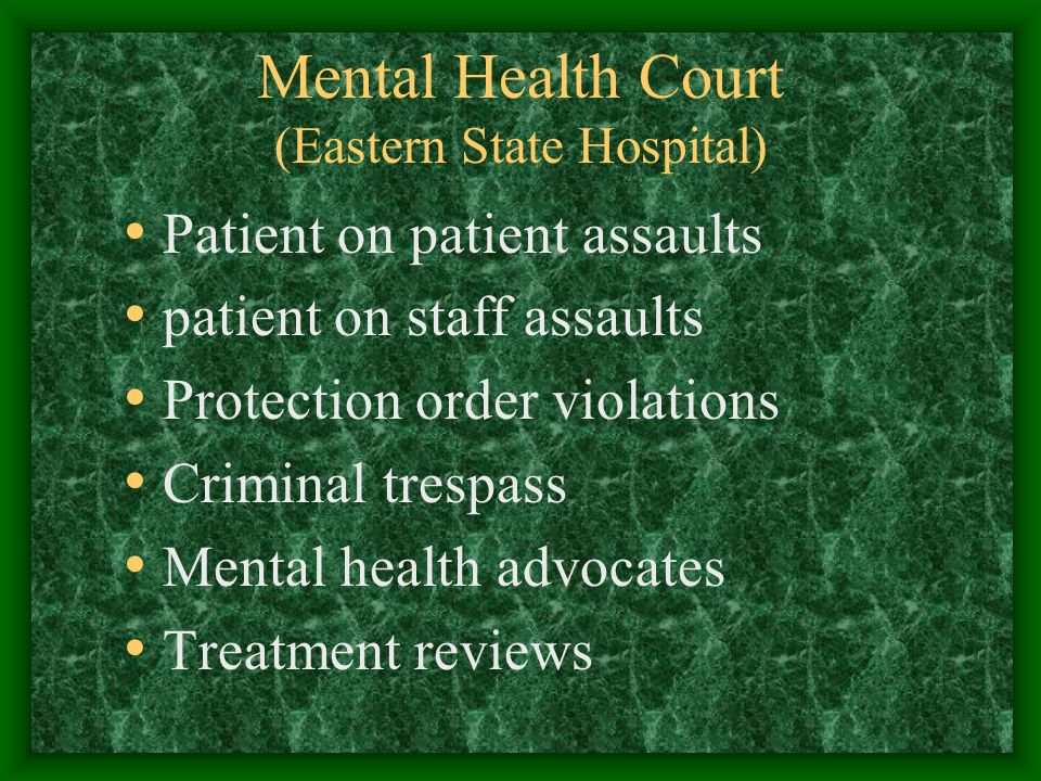Mental Health Court (Eastern State Hospital) Patient on patient assaults patient on staff assaults Protection order violations Criminal trespass Mental health advocates Treatment reviews