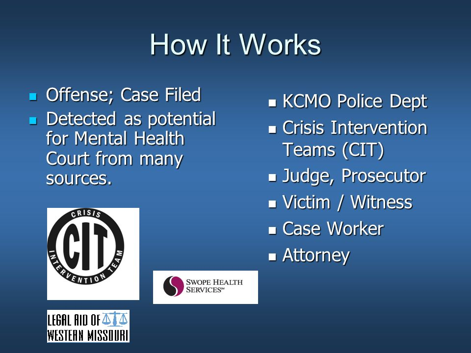 How It Works Legal Aid attorney may be assigned Legal Aid attorney may be assigned Program explained same day Program explained same day Determination of Eligibility: Prior criminal history, severe and persistent mental illness (SPMI) Determination of Eligibility: Prior criminal history, severe and persistent mental illness (SPMI) Evaluation or plea Evaluation or plea Monthly court visits Monthly court visits Monitoring treatment and compliance Monitoring treatment and compliance Minimum 6 months, average 11 months Minimum 6 months, average 11 months