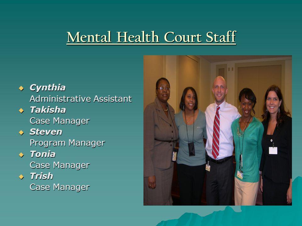 Mental Health Court Staff Cynthia Cynthia Administrative Assistant Takisha Takisha Case Manager Steven Steven Program Manager Tonia Tonia Case Manager