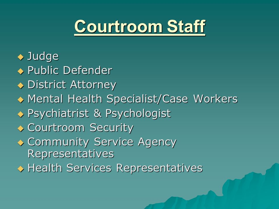 Procedure Offense - Arrest Offense - Arrest Referrals made by Judge, Attorney, Family Member, Public Defender, District Attorney or Other Referrals made by Judge, Attorney, Family Member, Public Defender, District Attorney or Other Jail interview by Case Manager Jail interview by Case Manager Defendant volunteers to participate in Program Defendant volunteers to participate in Program Defendant placed on MH court docket Defendant placed on MH court docket Case reviewed by Judge in court Case reviewed by Judge in court Treatment plan developed including physical examination Treatment plan developed including physical examination One year intensive MH court supervision One year intensive MH court supervision Graduation ceremony held after defendant successfully completes MH court supervision Graduation ceremony held after defendant successfully completes MH court supervision
