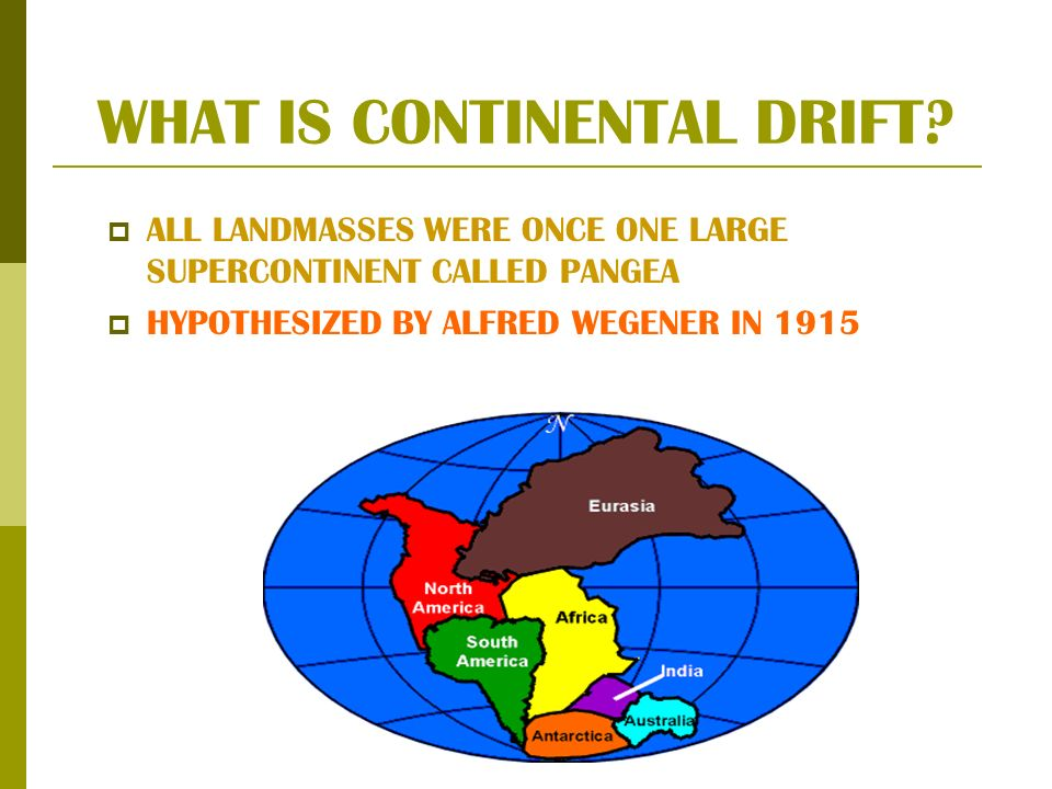 WHAT IS CONTINENTAL DRIFT? ALL LANDMASSES WERE ONCE ONE LARGE SUPERCONTINENT CALLED PANGEA HYPOTHESIZED BY ALFRED WEGENER IN 1915