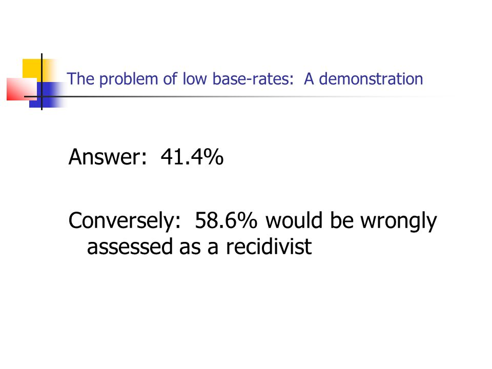 The problem of low base-rates: A demonstration Answer: 41.4% Conversely: 58.6% would be wrongly assessed as a recidivist
